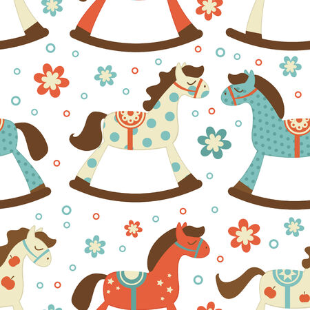Cute rocking horses seamless background Vector