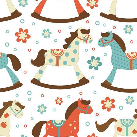 rocking: Cute rocking horses seamless background