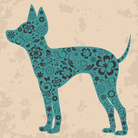 toy terrier: Russo toy terrier con decorazione ornamento floreale