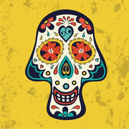 Sugar skull on grunge background. Vector illustration