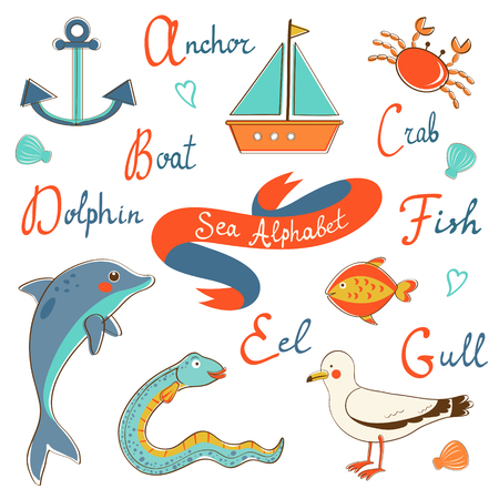 Cute colorful sea alphabet. Vector illustration illustration