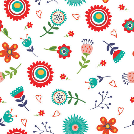 Beautiful floral seamless pattern with bright colors Vector