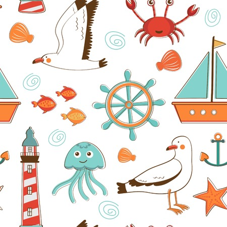 Colorful marine background. Vector illustration Vector