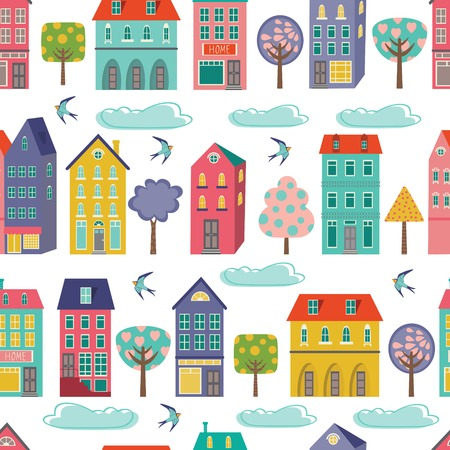 Cute city seamless background. Vector illustration  イラスト・ベクター素材