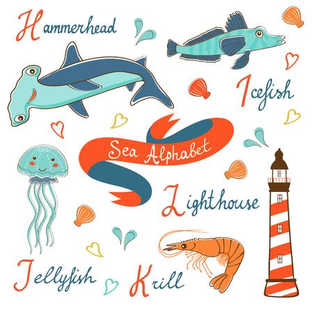 krill: Cute colorful sea alphabet. Vector illustration