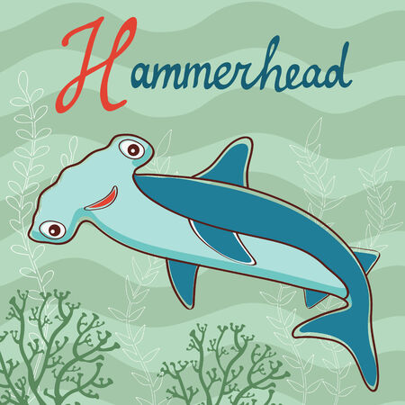 Colorful illustration of hammerhead. Vector format Vector
