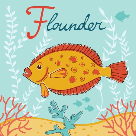 flounder: Colorful flounder fish illustration