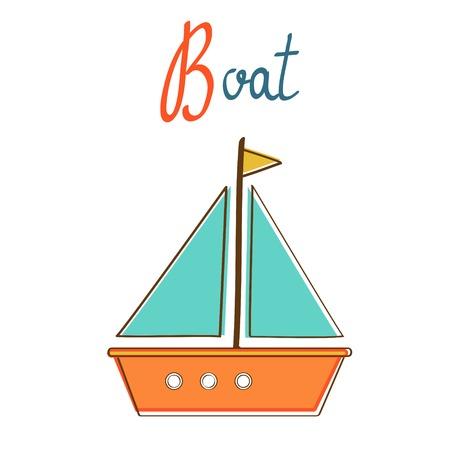 Illustration de B est pour le bateau. format vectoriel Vecteurs