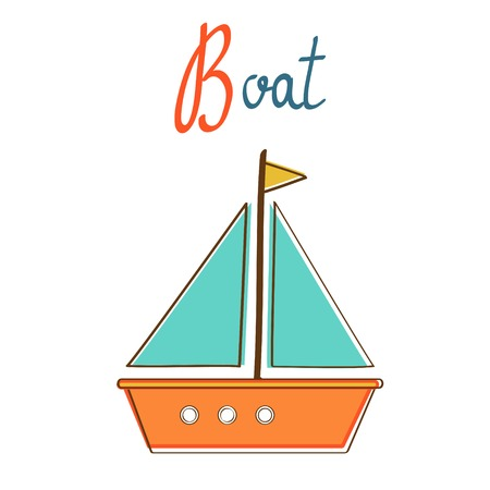 small boat: Illustration of B is for boat. vector format