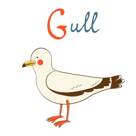 Illustration of G is for Gull. Vector format Vector