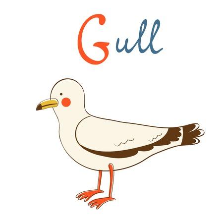 Illustration of G is for Gull. Vector format Vector