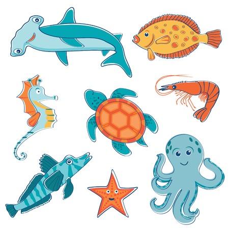 pez martillo: Colección criaturas marinas colorido lindo