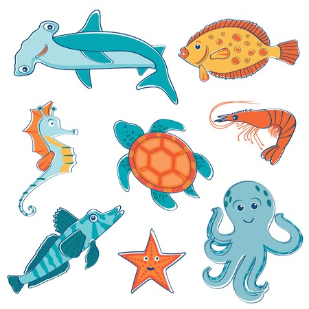 Cute colorful sea creatures collection Vector