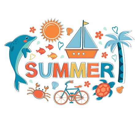bycicle: Summer colorful composition. Vector illustration