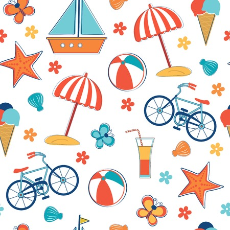 bycicle: Summer vacation pattern. Vector illustration Illustration