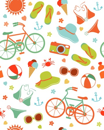 Colorful summer leisure seamless pattern Vector
