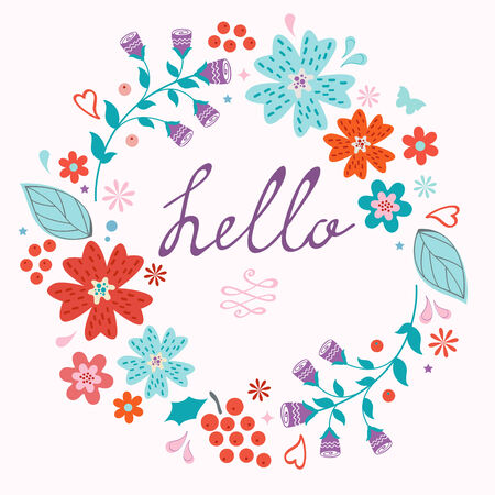 retro flowers: Beautiful hello card with floral wreath. Vector illustration