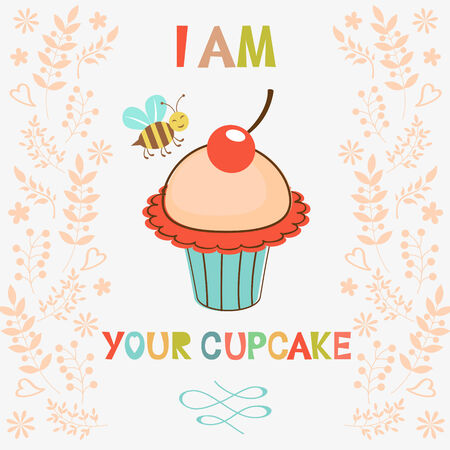 bee birthday party: I am your cupcake colorful card. Vector illustration Illustration