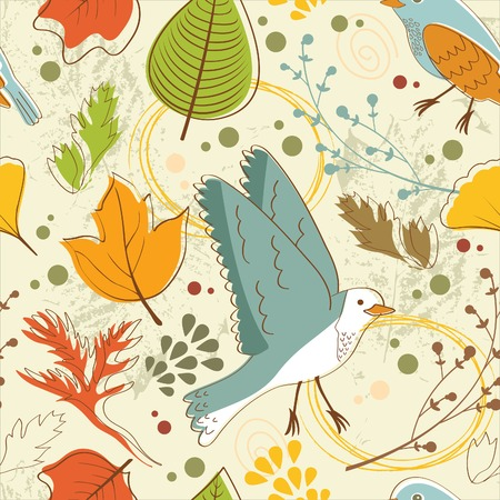 Autumn pattern with leaves and birds. vector illustration Vector