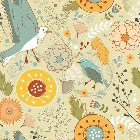 Autumn pattern with birds, flowers and leaves. vector illustration Vector