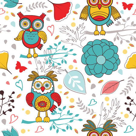 Cute colorful pattern with  funny owls and flowers.  Vector