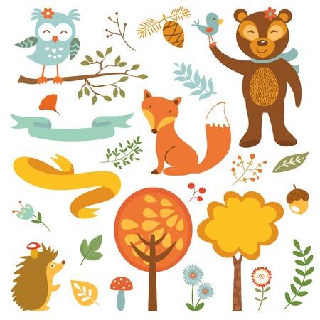 귀여운 숲 동물 다채로운 컬렉션. 벡터 일러스트 레이 션