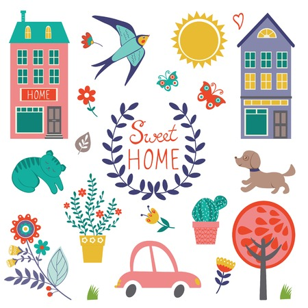 Home sweet home colorful set. Vector