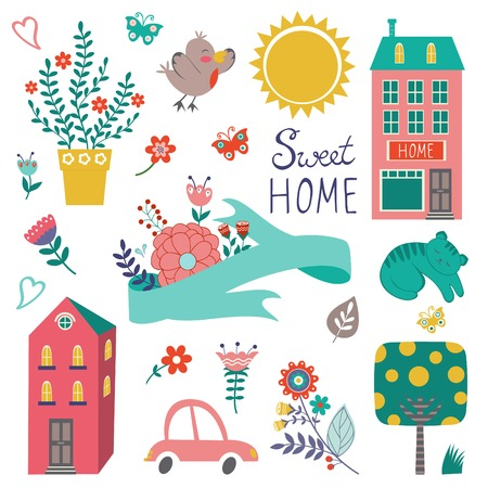 home decoration: Cute home sweet home collection. Illustration
