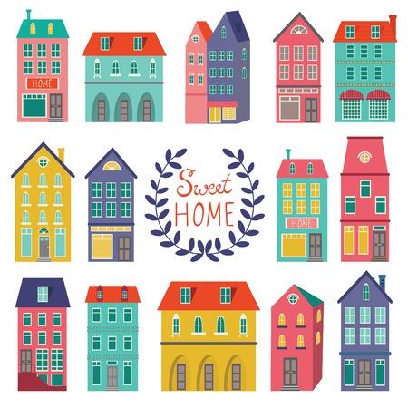 Kleurrijke huizen collectie. Home sweet home set. Stock Illustratie