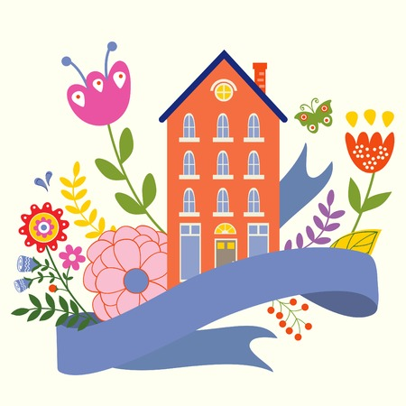 Home sweet home concept illustartion with house, ribbon and flowers Illustration
