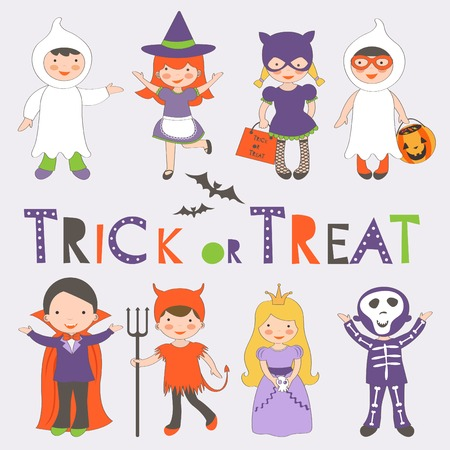 kids costume: Cute colorful Halloween kids set. Vector illustration Illustration