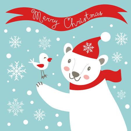 Cute christmas card with white bear. vector illustration Vector