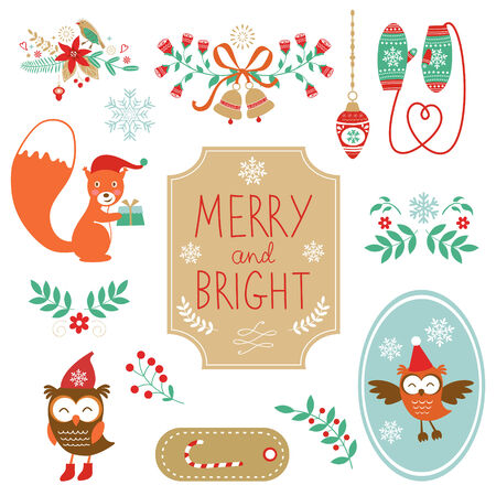 Cute collection of Christmas decorative elments. Vcetro illustration Vector