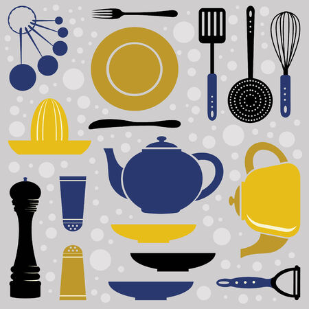 measuring spoon: A kitchen collection retro style. Vector illustration