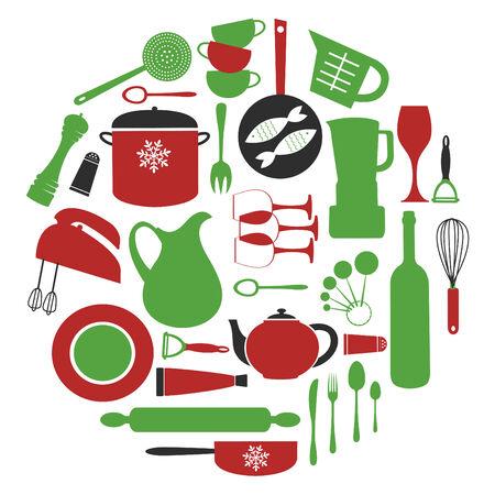 peeler: Stylish  colorful round kitchen composition. vector illustration