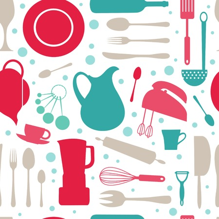 skimmer: A seamless colorful kitchen pattern. vector illustration