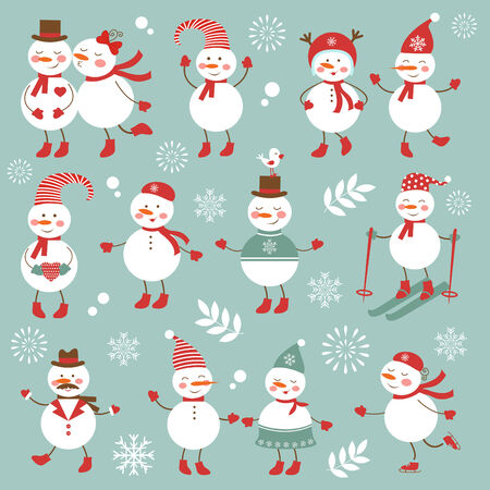christmas characters: Cute colorful snowmen characters collection. vector illustration