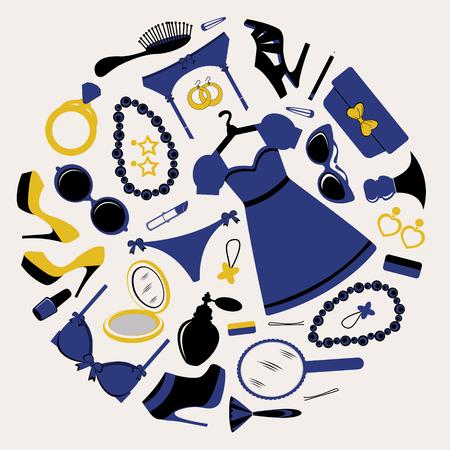 Elegant fashionable elements round composition. Vcetor illustration Vector