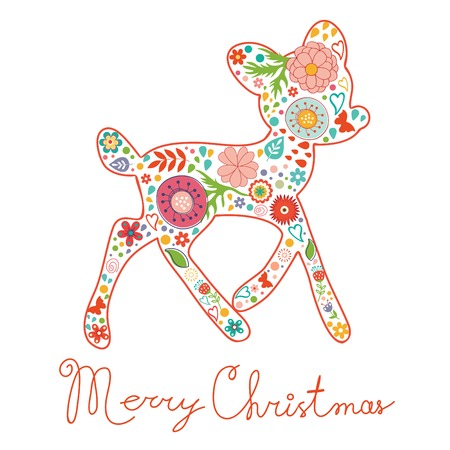vectro: Merry Christmas greeting card. Colorful floral deer and handritten Merry Christmas. Vectro illustration