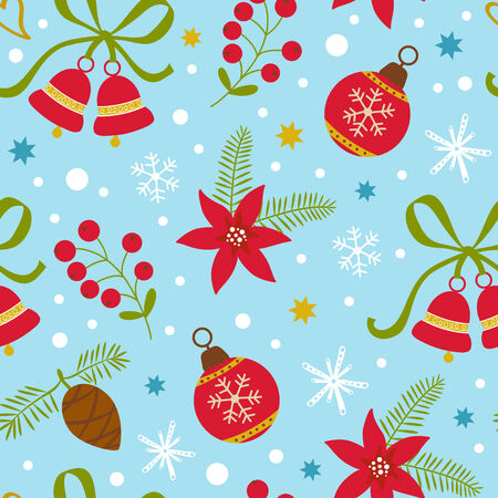 Colorful Christmas seamless pattern with flowers, baubles and bells. Vector illustration Vector