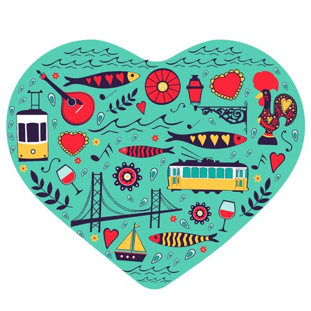 tile: Travel concept card. Illustration of love for Lisbon - heart with vector icons. Vector illustration