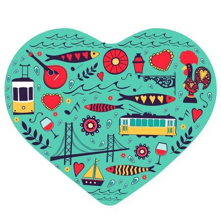 tramway: Viaggi concetto carta. Illustrazione di amore per Lisbona - cuore con le icone vettoriali. Illustrazione vettoriale