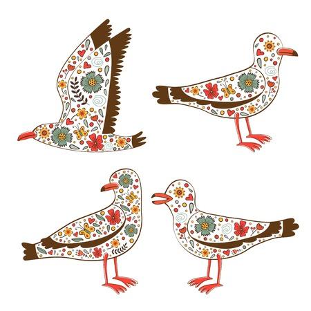 seagulls: Beautiful collection of floral seagulls. Vector illustration Illustration