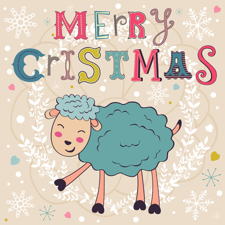 2015 card with cute funny sheep. Vector illustration Vector