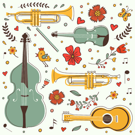 design design elemnt: Musical instruments colorful collection with flowers and birds. vector illustration