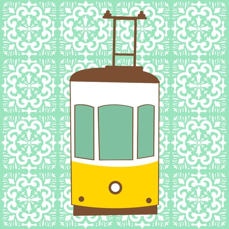 tramway: Colorful illustration of traditional Lisbon tram in vector