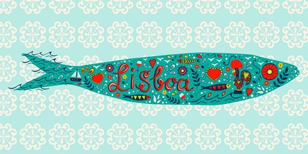 sardine: Traditionelle portugiesische Sardinen mit typischen Symbolen und Abbildungen in Vektor
