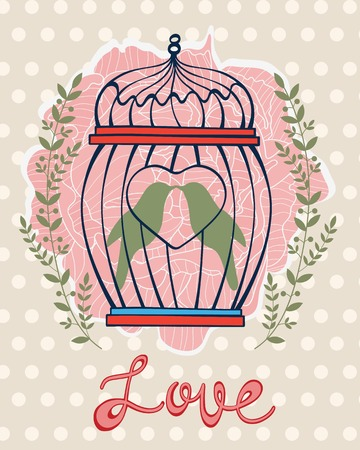jail bird: Beautiful love card with birds in cage. Vector illustration Illustration