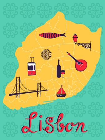 sardine: Bunte stilisierte Karte von Lissabon mit typischen Symbolen und Abbildungen. Vektor-Illustration Illustration