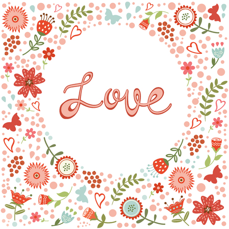 love letters: Concept love card with floral heart and handwritten letters. Vector illustration Illustration